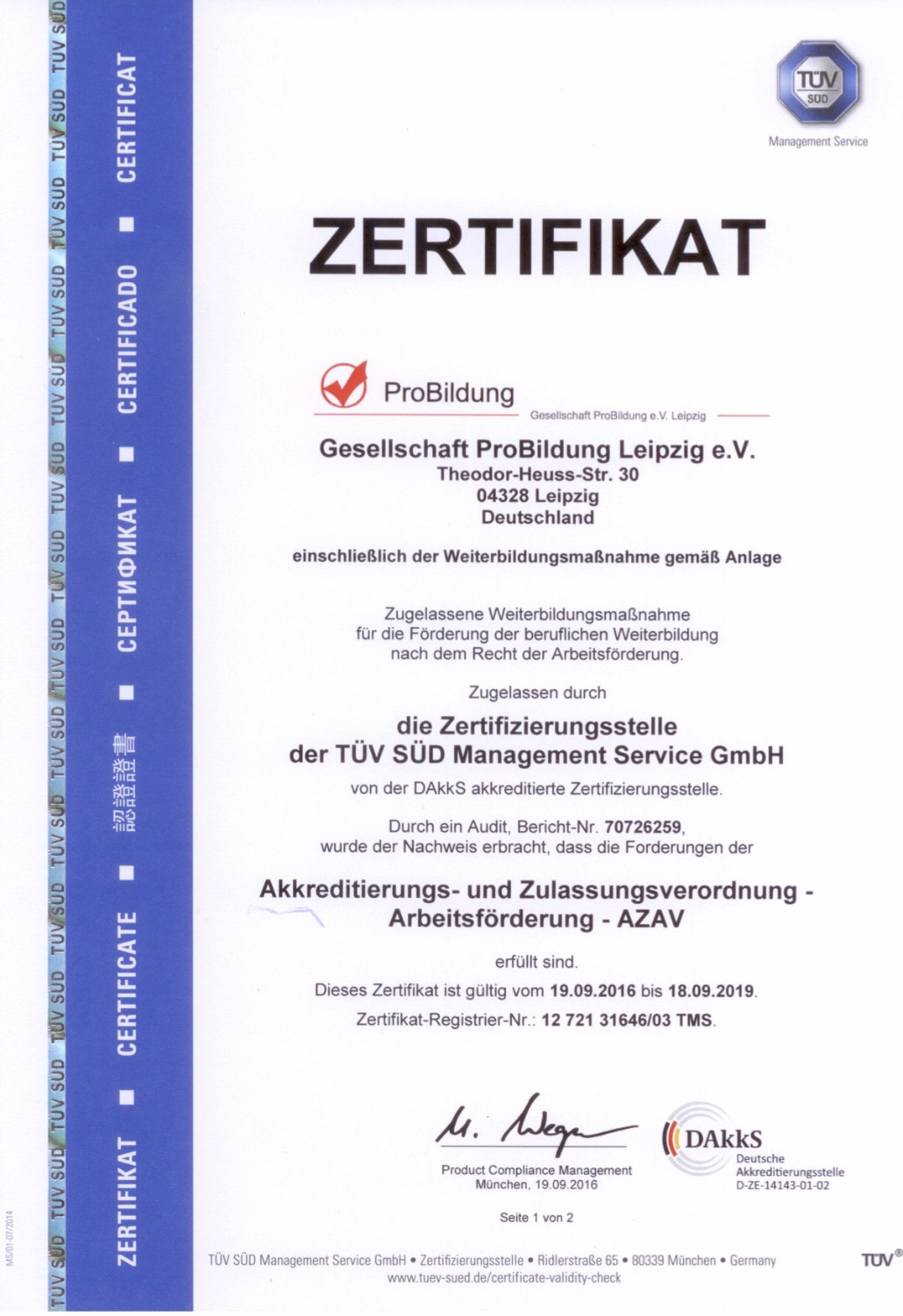 TÜV Zertifikat LMS Leipzig Medical School